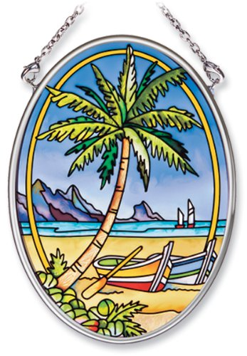 Amia Hand Painted Glass Suncatcher with Tropical Palm Design, 3-1/4-Inch by 4-1/4-Inch Oval (7765)