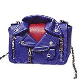 QZUnique Women's Motorcycle Jacket Shouldbag PU Leather Handbag Rivet Crossbody Satchel Bag