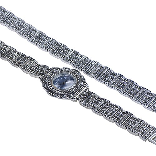 Caratera Fine Jewelry Ladies 925 Sterling Silver Dazzling Marcasite Covered Dial Quartz Watch Bracelet - Sterling Marcasite Watch