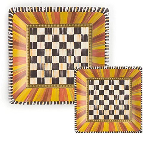 Mackenzie-Childs Festoonery Courtly Check Square Paper Plate Set; Includes (8) 10.5-in Dinner Plates & (8) 7-in Salad/Dessert Plates (16 Plates Total)