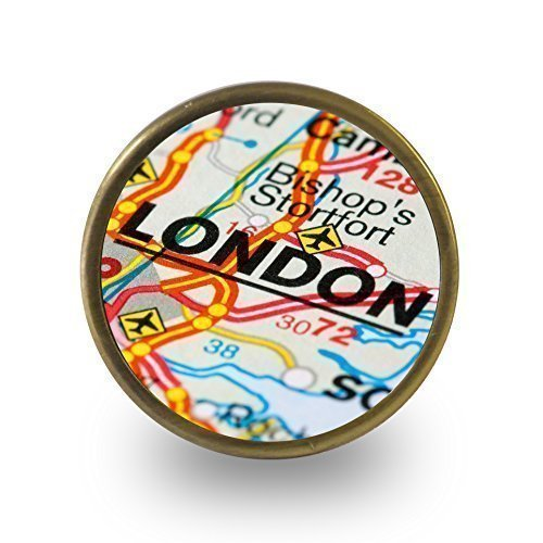 London road map atlas cupboard door knob drawer pull cabinet handle bishop stortford by Pushka Knobs (Pulls Map Drawer)