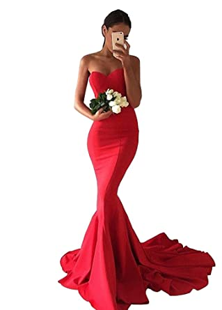 Womens Sweetheart Satin Mermaid Formal Prom Dress Sweep Train-Red Size2