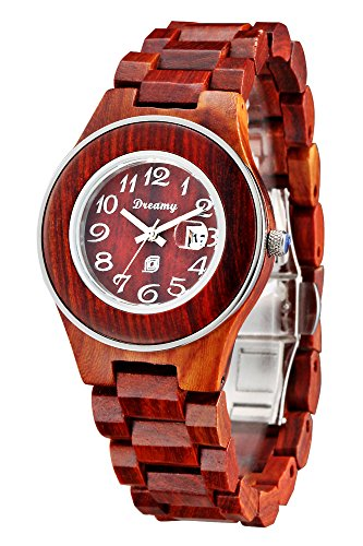 Dreamy Wood Watch for Ladies, Round Face, Japanese Movement with Date (Famous Look Automatic Watch)