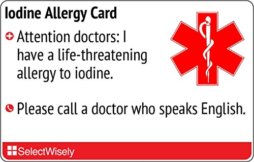 Price comparison product image Iodine Allergy Translation Card - Translated in German or any of 9 languages