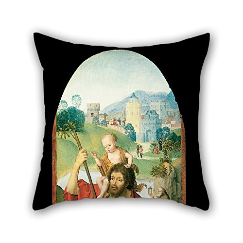 Uloveme The Oil Painting Hans Memling - Saint Christopher Cushion Cases Of ,20 X 20 Inches / 50 By 50 Cm Decoration,gift For Dance Room,gril Friend,dining Room,gf,divan,car (both (Hunter And Deer Costume)