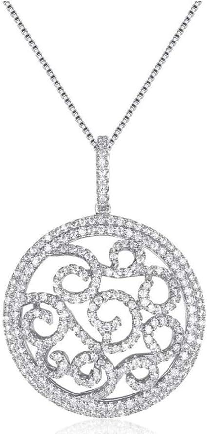 Femmes 925 Argent Collier Rond Pendentif Longue Chaîne Mode Bijoux Cadeau