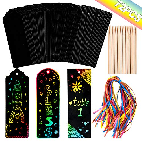 Meiliy 72 Kits of Rainbow Scratch Art for Kids Bookmarks Paper Cards DIY Gift Tags Magic,72Satin Ribbons ,24 Scratch Art Tools for Children Students Party Favor, - Kit Card Ribbon
