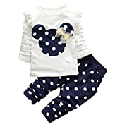 Favorland Baby Girls' Toddler Outfits Kids Clothes Shirt Top Pants Set(70,Blue)