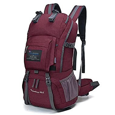 Mountaintop 40 Liter Hiking Backpack for Outdoor Camping (Fuchsias2)