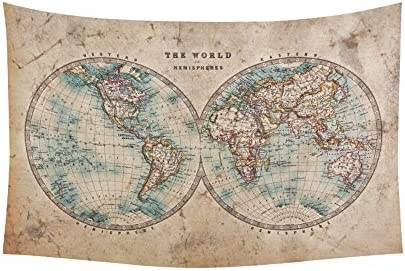 INTERESTPRINT Global Map Wall Art Home Decor, Vintage Retro Style Old World Map from 1800s for Geography and History Print Tapestry Wall Hanging Art Sets 90 X 60 Inches