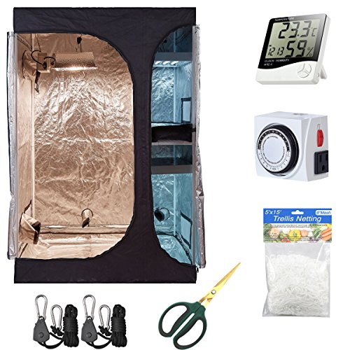 $123.28 Hydroponics Kits Hydro Plus Grow Tent Kit 36″x24″x53″ 2-in-1 Indoor Plants Growing Dark Room Non Toxic Hut + Hydroponics Growing Setup Accessories (36″x24″x53″ Kit) 2019
