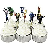 Betop House Set of 24 Pieces Zootopia Themed Decorative Cupcake Topper for Kids Birthday Party Baby Shower