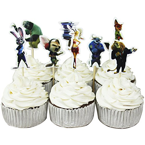 Betop House Set of 24 Pieces Zootopia Themed Decorative Cupcake Topper for Kids Birthday Party Baby Shower by BETOP HOUSE