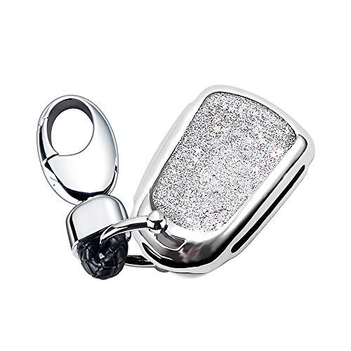 YIJINSHENG TPU Soft Plating Smart Key Fob Remote Cover Case Protector Keyless Jacket for Cadillac CT6 XT5 CTS XTS SRX ATS GTS ATSL HYQ2AB HYQ2EB Car Key Chain (Silver)