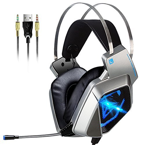 PC Game Headsets for PS4, Ear Cup USB Surround Stereo Wired Game Headphones with 57mm Driver,Xbox One Controller,LED Light , Soft Ear-Pads and Noise Isolation Mic for ( Black Sliver)
