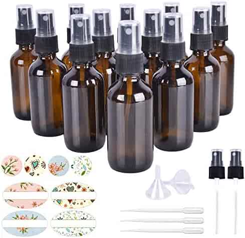 12 Pack, HwaShin 2oz Amber Glass Spray Bottles with Black Fine Mist Sprayers for Essential Oils, Perfumes & Aromatherapy (2 Funnels, 3 Droppers, 2 Extra Nozzles, 24 Pieces Labels Included)