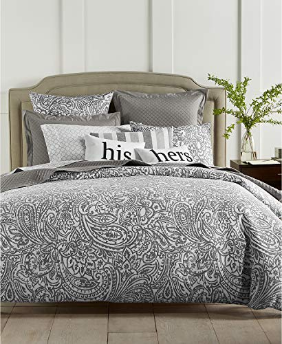 - Charter Club Damask Designs 3 Piece Stone Paisley 300-Thread Count 3- Full/Queen Comforter Set Grey