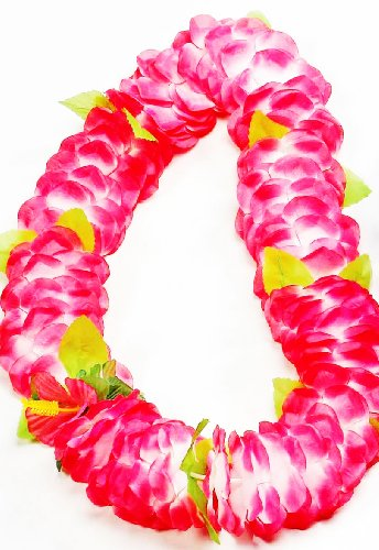 Forum Novelties Deluxe Color Dipped Pink White Silk Flower Hawaiian Lei -