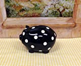 Tuscan Collection White Dots Piggy Bank 6-3/4