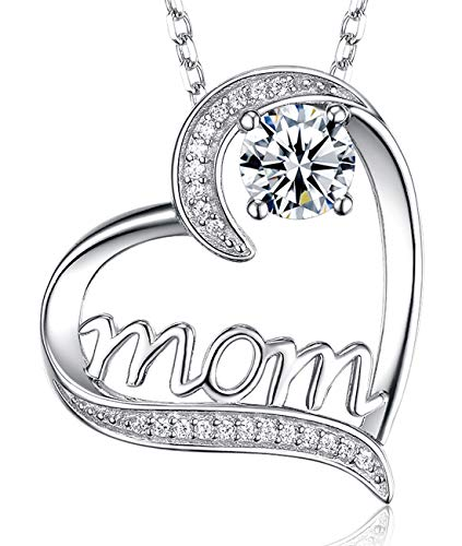"❤️ I Love You Mom ❤️ Mothers Day April Birthstone Diamond Necklace Birthday Gifts for Mom Sterling Silver Jewelry Love Heart Swarovski Pendants Necklace Wife for Women 20"" Chain"