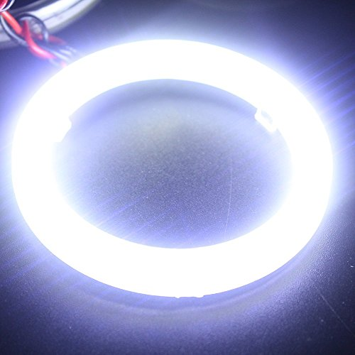 Everbrightt 1-Pair White 70MM 60SMD COB LED Headlight Angel Eyes Bulb Halo Ring Lamp Light With Housing (Halo Lamp)
