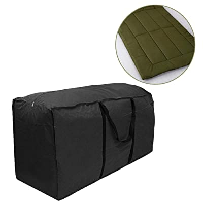 Supicity Rectangular Cushion Cover Storage Bag, Outdoor Patio Furniture Seat Cushions Storage Bag with Zipper and Handles Waterproof: Kitchen & Dining