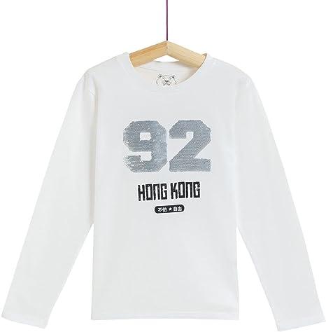 Camiseta de Manga Larga con Lentejuelas Reversibles para niño: Amazon.es: Ropa y accesorios
