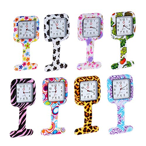 Weicam Square Silicone Nurse Doctor Wholesale Pin-on Brooch Watch Pocket Watches (8 Pack)