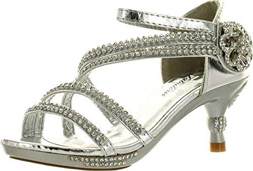 JJF Shoes Glamour-28 Kids Silver Rhinestone Flower Sparkling Bling Heel designed Dress Sandals-9