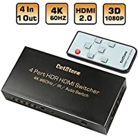 HDMI Switch 4 Ports HDMI 2.0 Switch Auto 4 In 1 Out  With IR Remote Hdmi Selector Switcher Supports Ultra HD 4Kx2K@60Hz HDR 3D 1080p HDCP 2.2 Pass-through By DotStone
