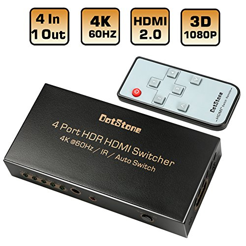 HDMI Switch 4K HDMI Splitter Auto 4 In 1 Out With IR Remote Supports Ultra HD 4Kx2K@60Hz HDR 3D 1080p HDCP 2.2 Pass-through for XBox PS4 Blu-Ray Player HDTV Apple TV Roku Amazon Fire Stick By DotStone