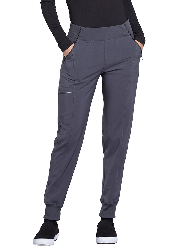 Cherokee Infinity Women's Elastic Waistband Tapered Jogger Scrub Pant X-Large Tall Pewter