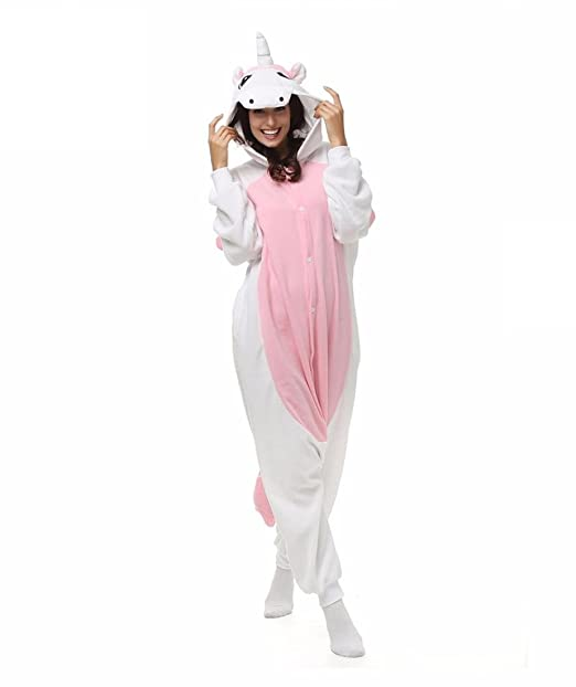 WRH Kigurumi pijamas unicornio Leotard/mono Halloween animales ropa de dormir rosa Patchwork Forro Polar