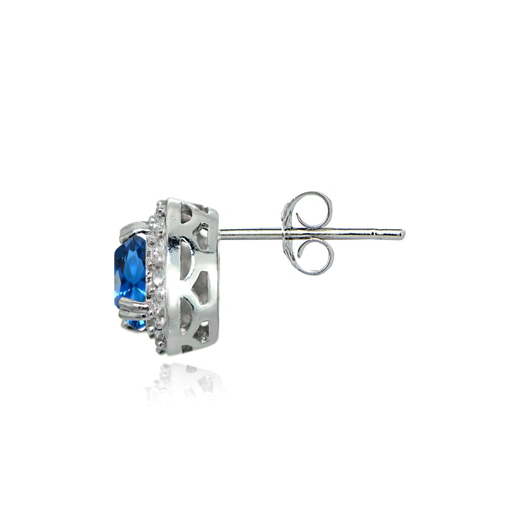 Sterling Silver Simulated Gemstone and CZ Accents Round Halo Stud Earrings