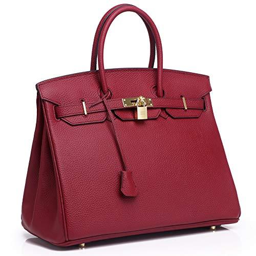 Kueh Womens Padlock Designer Handbags With Gold Hardware 30 Wine Red