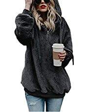 Gogoodgo Women's Hoodie Coat,Winter Warm Fuzzy Casual Loose Sweatshirt Hooded with Pockets Outwear S-5XL