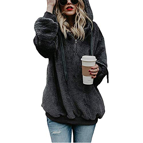 Women's Warm Long Sleeves Pullover Sweatshirts Winter Fluffy Hoodie Top Elegant Hooded Pullover Jumper Plus Size (XL, Dark Gray)]()