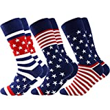Business Gift Socks, LANDUNCIAGA Men's Mid Calf July Fourth Patriotic American Flag Stars Novelty Cotton Crew Bridegroom Socks,3 Pairs