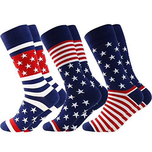 LANDUNCIAGA Men's Business Gift Socks Mid Calf Winter Patriotic American Flag Dress Socks Independence's Day Socks Novelty Cotton Crew Bridegroom Socks USA Themed Gifts,3 Pairs