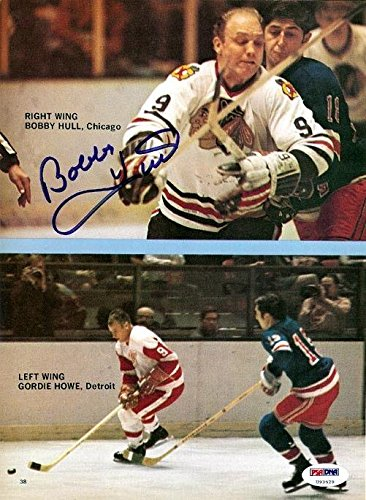 Bobby Hull Autographed Signed Magazine Page Photo Blackhawks #U93529 PSA/DNA Certified Autographed NHL Magazines