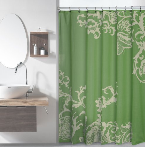 Luxury Fabric Shower Curtain with Floral Pattern (Sage) b...