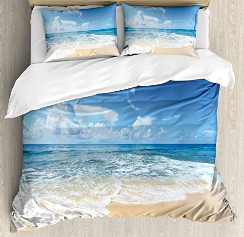 Ambesonne Ocean Duvet Cover Set King Size, Waves