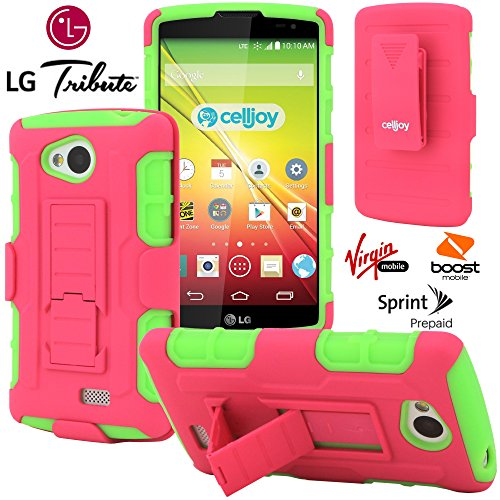 LG Tribute Case, CellJoy [Robot Armor] (Pink / Lime Green) LG LS660 Optimus F60 Transpyre **ShockProof** [HEAVY DUTY] Drop Protection Kickstand Hybrid Cover [Swivel Belt Clip Holster Combo]