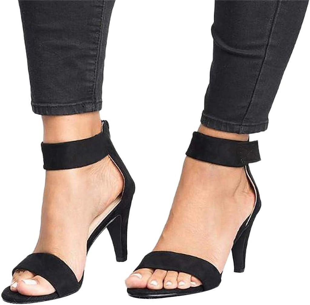 Sandales Femmes Talons Hauts Été Sangle Cheville Dames Pompes Chaussures Noir