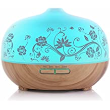 BESTEK Essential Oil Diffuser,300ml Glass Aroma Diffuser Ultrasonic Cool Mist Humidifier with changing Colored LED Lights, Waterless Auto Shut-off and Adjustable Mist mode