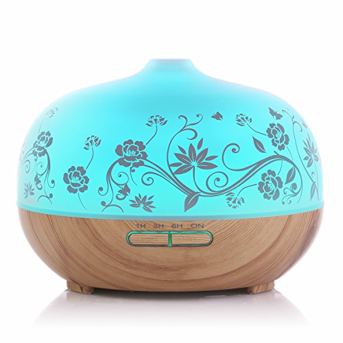 BESTEK Essential Oil Diffuser,300ml Glass Aroma Diffuser Ultrasonic Cool Mist Humidifier with changing Colored LED Lights, Waterless Auto Shut-off and Adjustable Mist - Glasses Mode