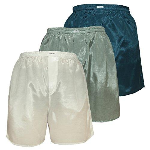 Men's Underwear Sleepwear Thai Silk Boxer Shorts Color Mix Pack of 3 (L, Off-White White-Green Ocean-blue)
