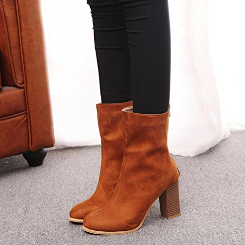 Women Ladies Nubuck Zipper Boots,autumn-wind Warm Ankle High Heels Point Toes Martin Shoes Size 4.5-8 UK Yellow