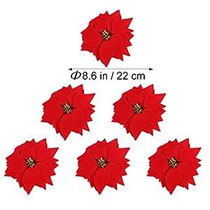 VORCOOL 50PCS Artificial Poinsettia Floral Heads Christmas Tree Decorations Xmas Home Front Door Wreath Table Centerpieces Arrangements Fake Hanging Vine Swag Decorative 2