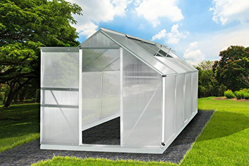 Gewächshaus Aluminium mit Stahlfundament 7,6m³ 6mm Platten L 250 x B 190 x H 195cm